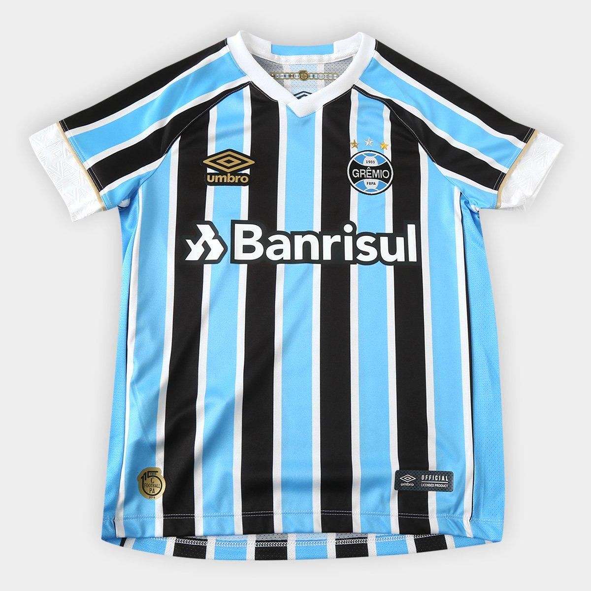 Camisa Grêmio Juvenil I 18 19 s n° Torcedor Umbro - Azul e Preto ... bcd556fae0acf