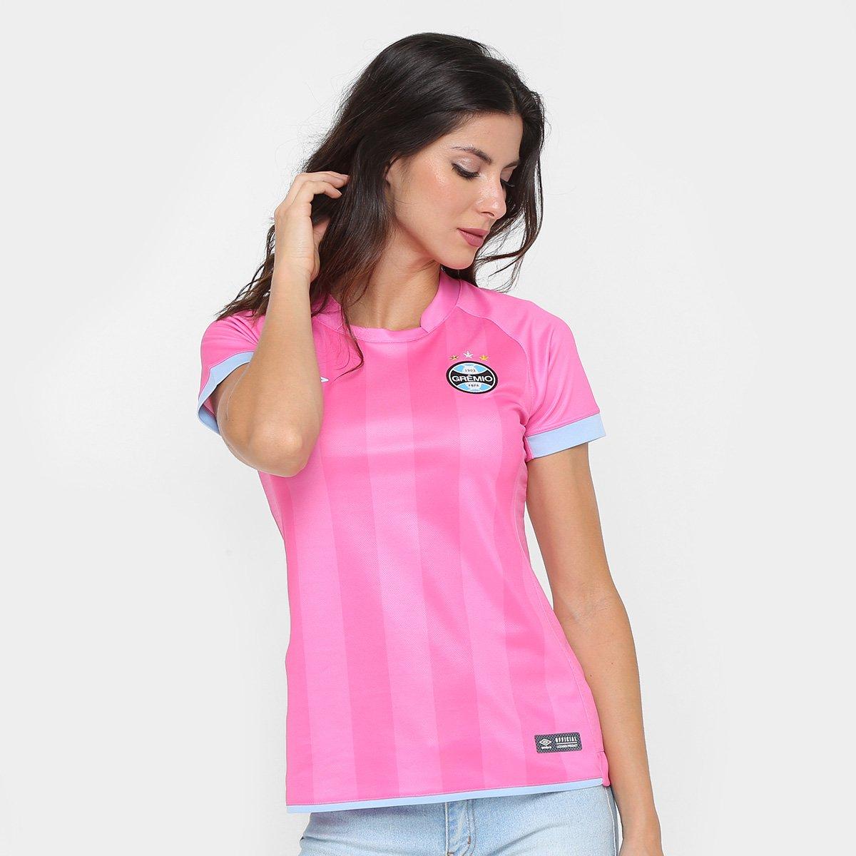 Camisa Grêmio Outubro Rosa 17 18 s n° Umbro Feminina - Rosa e Azul ... 7168af3ee05b9