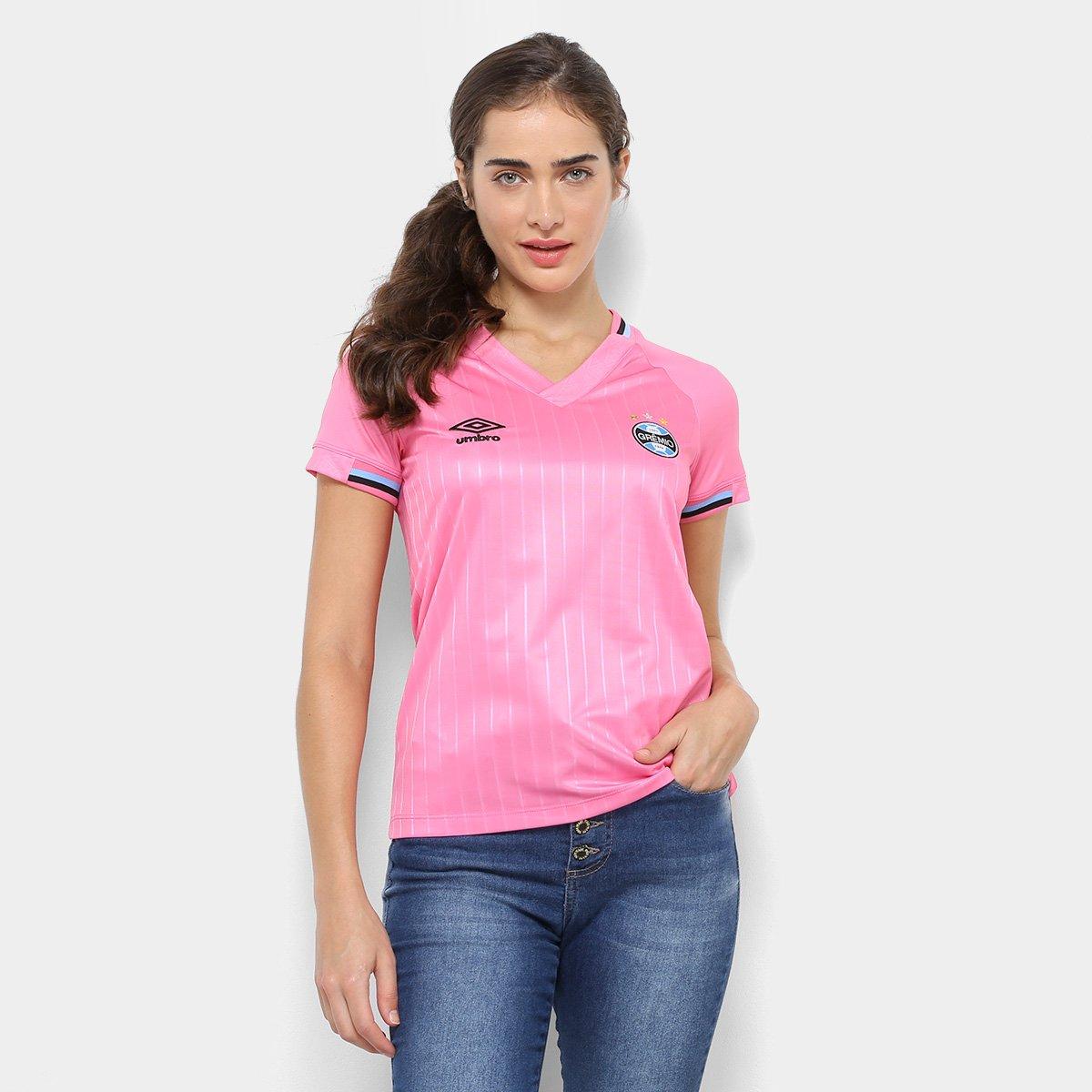 6c9c76ff6dc08 Camisa Grêmio Outubro Rosa 2018 Umbro Feminina - Rosa e Preto - Compre Agora