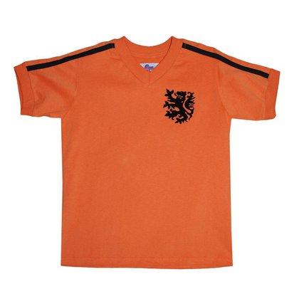 Camisa Holanda 1974 Liga Retrô Infantil Laranja 8
