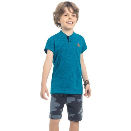 Camisa Infantil Manga Curta, Malha Jet Black, Azul - Kamylus