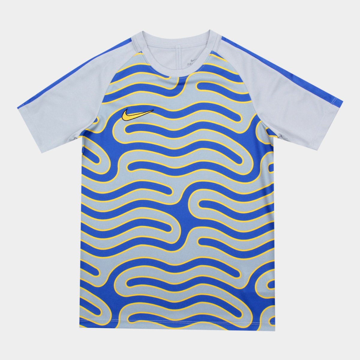 Camisa Infantil Nike Dry Academy Top SS GX2 Cinza e Azul