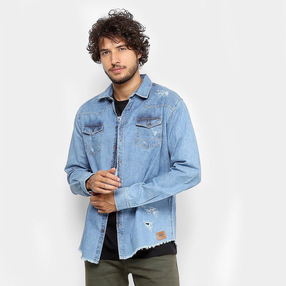 0760a69006 Camisa Jeans Colcci Slim Masculina - Compre Agora