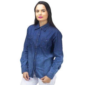 Camisa Jeans Escura com Bolso Mosaico