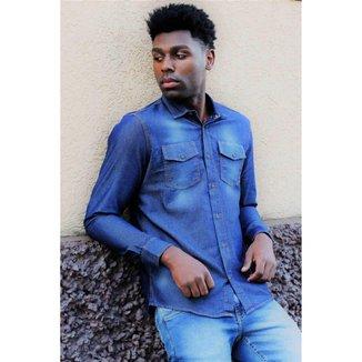 Camisa Jeans Manga Longa 2 Bolsos By For Men