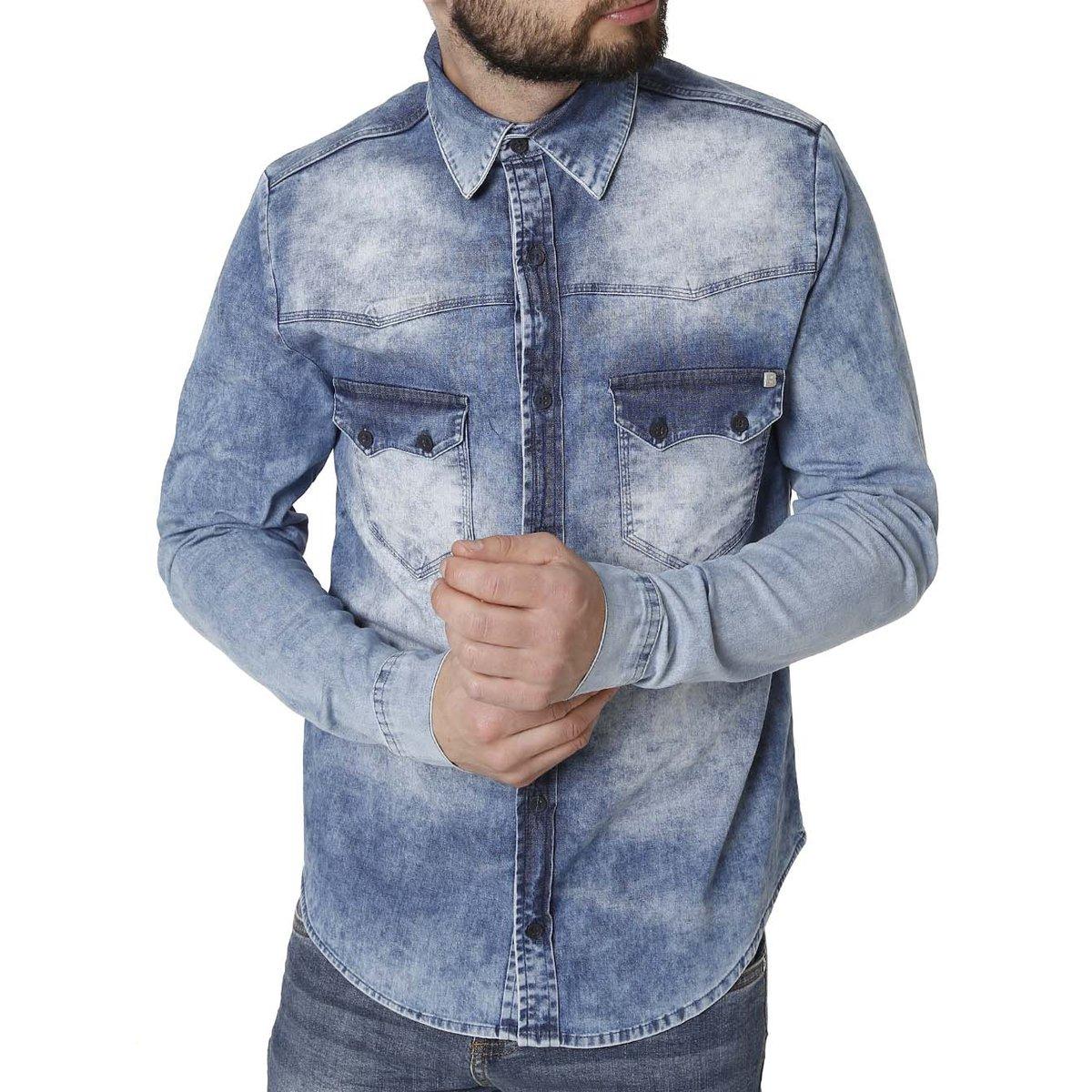3e1bc51b0d Camisa Jeans Manga Longa Masculino Bivik | Netshoes