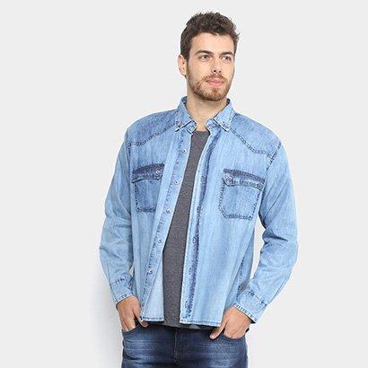 Camisa Jeans Zamany Jacquard Delave Masculina