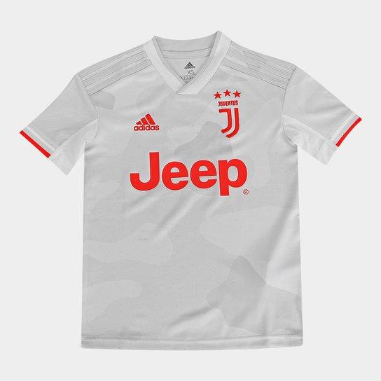 Camisa Juventus Infantil Away 19/20 s/nº Torcedor Adidas - Branco+Bege