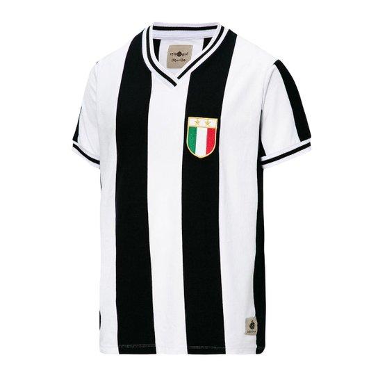 Camisa Juventus Retrô Anos 80 Masculina - Branco+Preto
