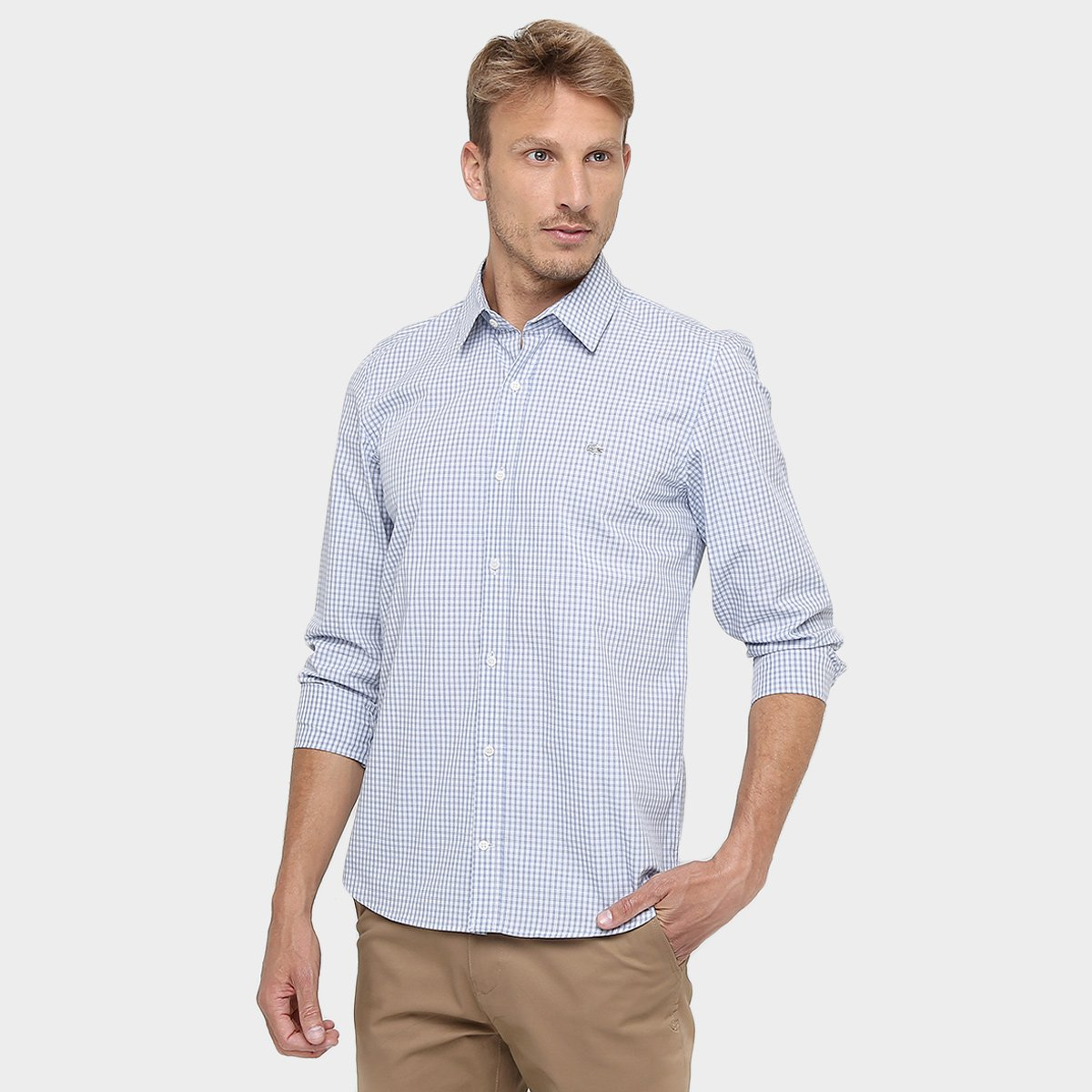 Camisa Lacoste Manga Longa Stretch Mini Xadrez - Compre Agora   Netshoes fe79a6cec7