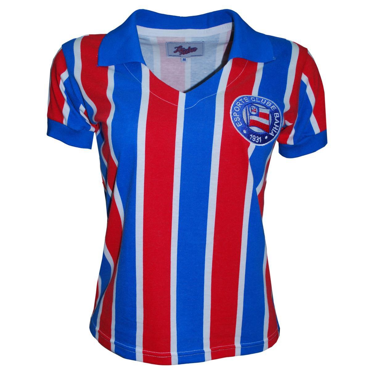Azul Camisa Retrô e Liga Vermelho Feminina Liga Bahia Camisa 7q17gP
