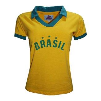 Camisa Liga Retrô Brasil Polo Estrelas Feminino