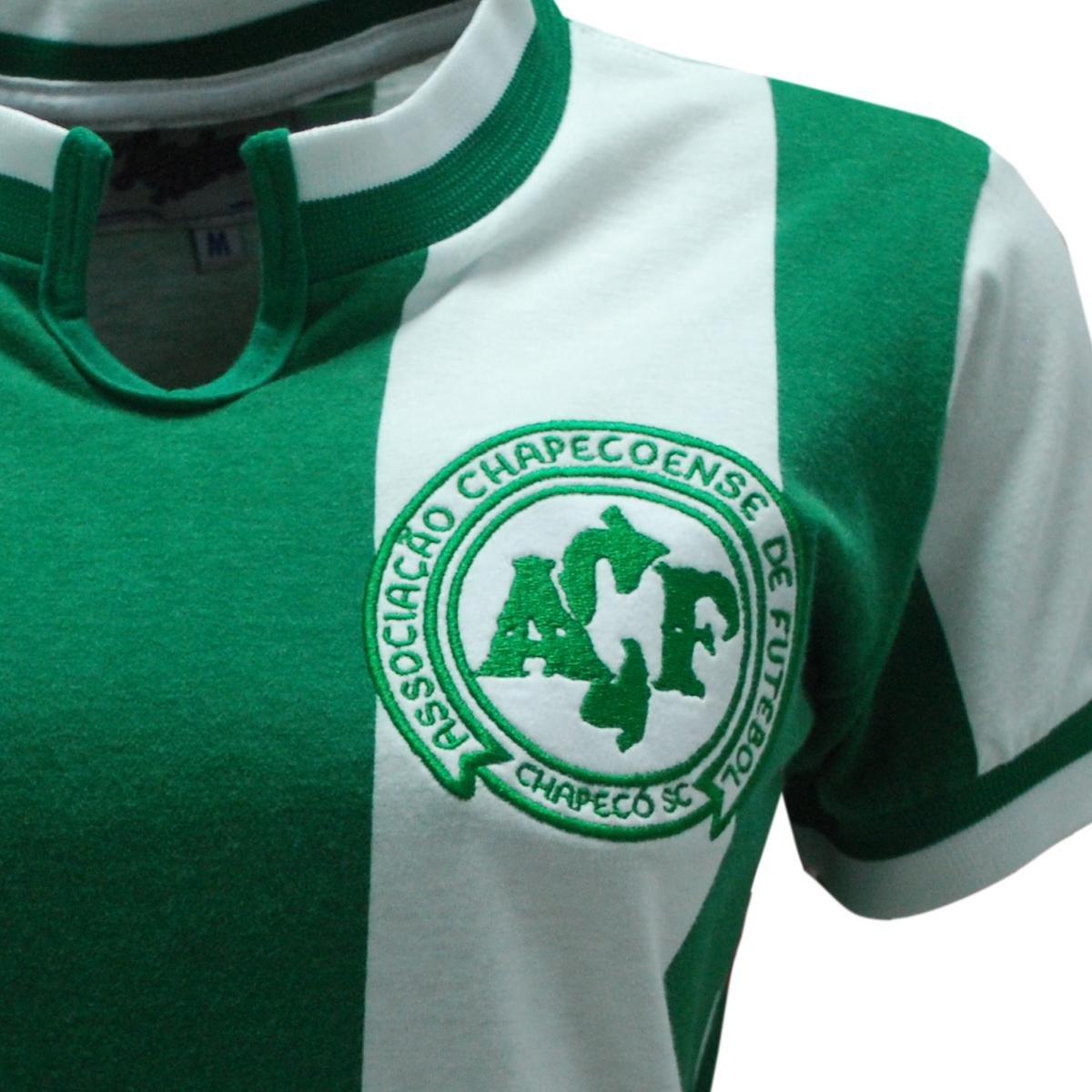 08a2e92a8f Camisa Liga Retrô Chapecoense 1979 Feminino - Verde e Branco ...
