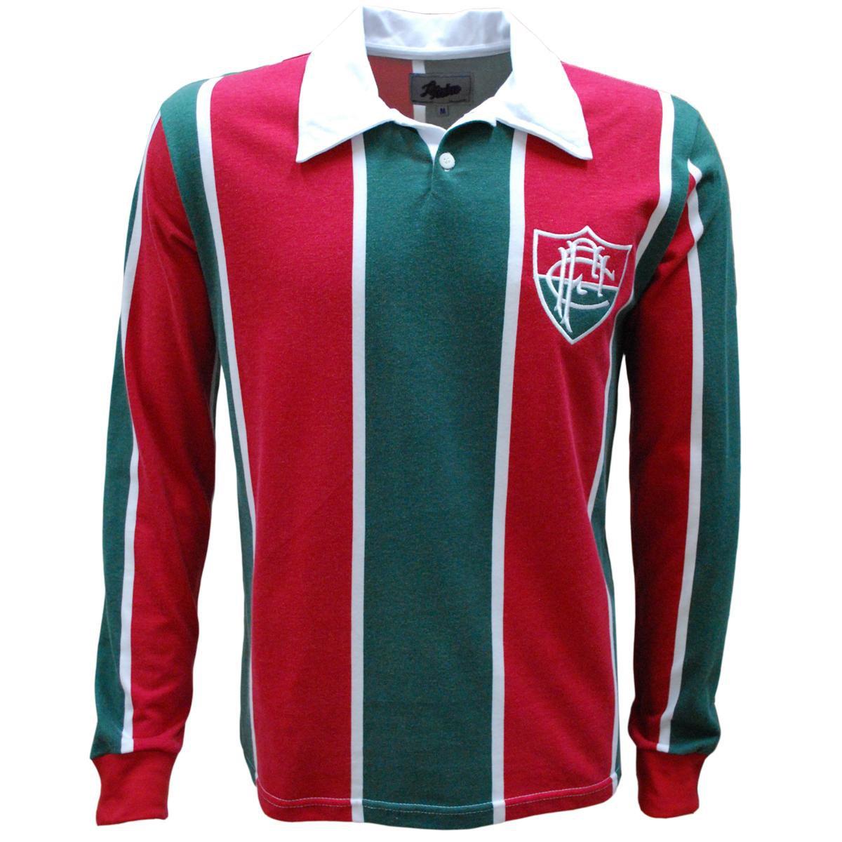 Camisa Liga Retrô Fluminense 1913 Longa - Vermelho e Verde - Compre Agora  58d1febde343e