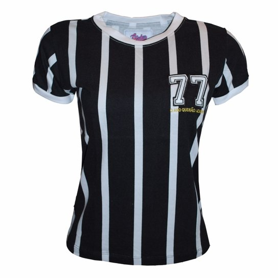 Camisa Liga Retrô Listrada 77 - Preto+Branco