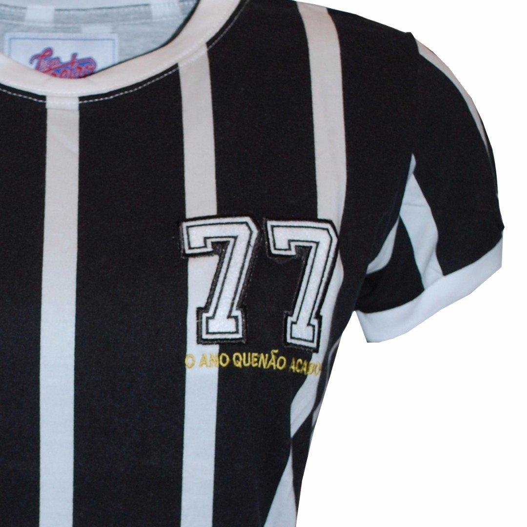 Listrada e Branco Camisa Preto 77 Retrô Liga Camisa Liga nqqWFaO
