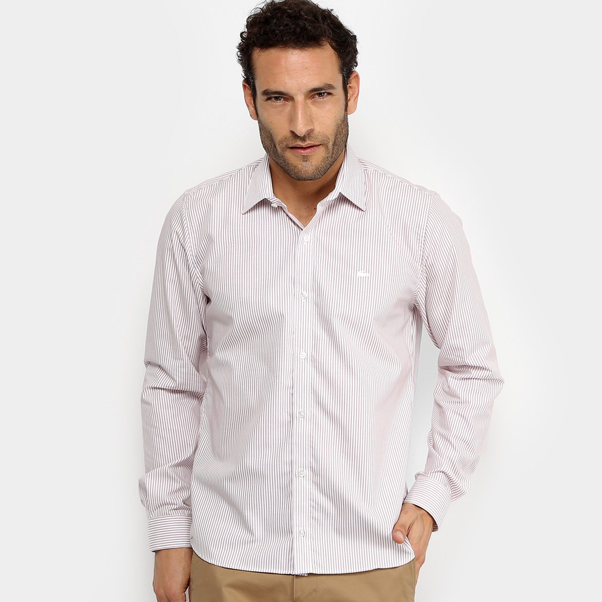 db4ff8a113237 Camisa Listrada Lacoste ML Regular Fit Masculina - Rosa Claro - Compre Agora
