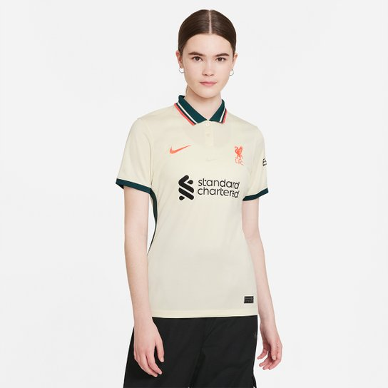 Camisa Liverpool Away 21/22 s/n° Torcedor Nike Feminina - Off White