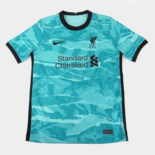 Camisa Liverpool Infantil Away 20 21 S N Torcedor Nike Azul Turquesa E Preto Netshoes