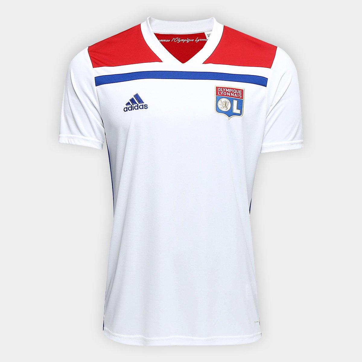 Camisa Lyon Home 2018 s/n° - Torcedor Adidas Masculina - Branco e Vermelho
