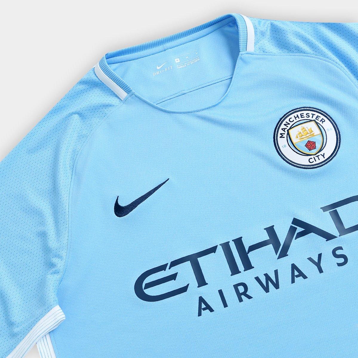 Camisa Manchester City Home 17 18 s nº Torcedor Nike Masculina ... fb3fcd0df4170