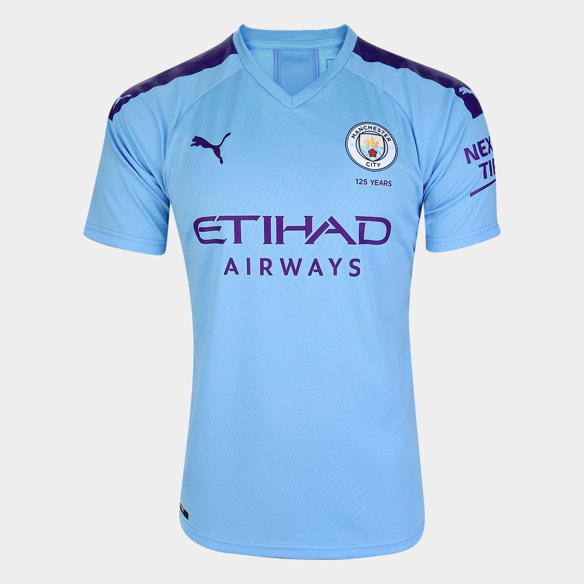 Camisa Manchester City Home 19/20 s/n° - Torcedor Puma - Azul e Roxo