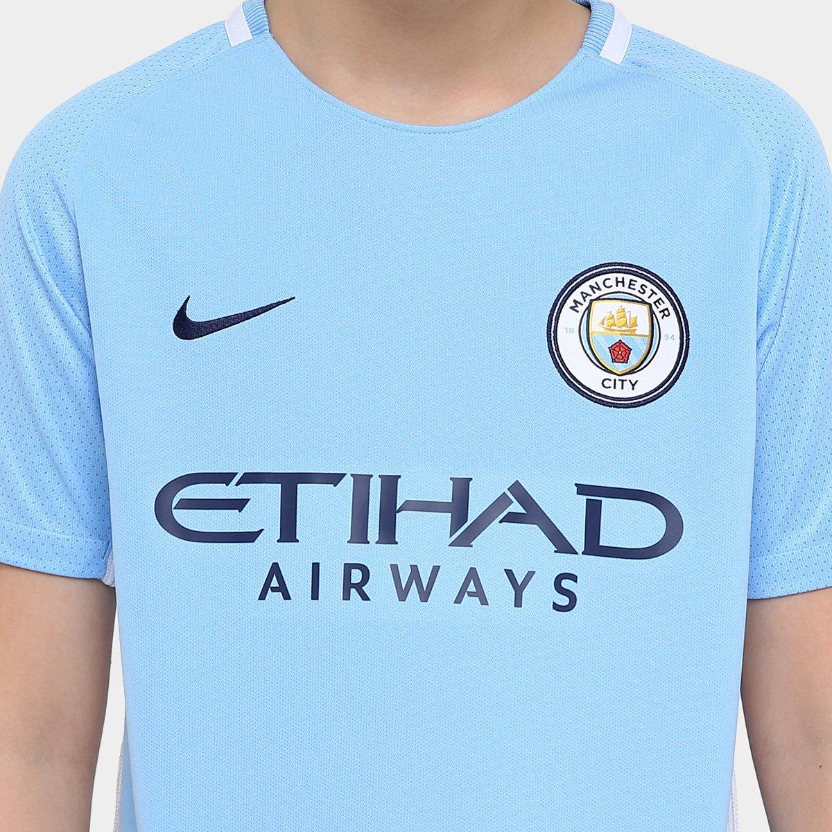 ... Camisa Manchester City Juvenil Home 17 18 s nº Torcedor Nike ... 42ecde862f036