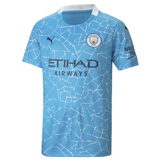 Camisa Manchester City Juvenil Home 20/21 s/n° Torcedor Puma