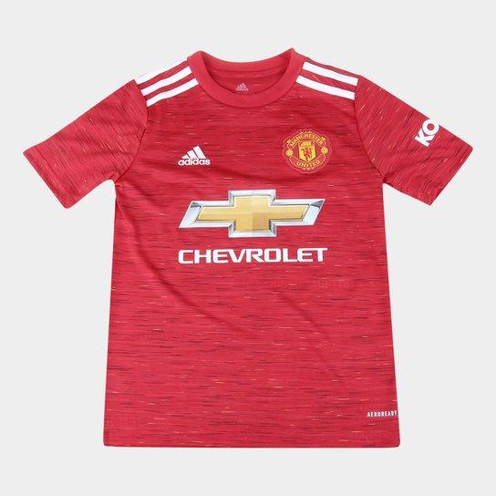 Camisa Manchester United Juvenil Home 20/21 s/n° Torcedor Adidas - Vermelho