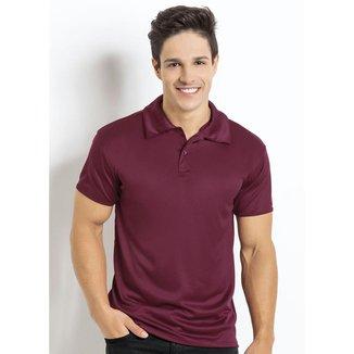Camisa Manga Curta Bordô Gola Polo