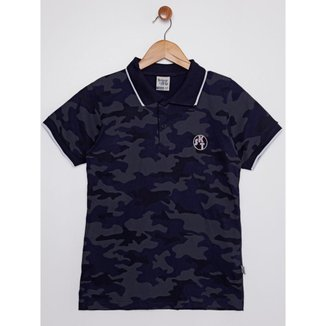 Camisa Manga Curta Juvenil Para Menino - Azul Marinho