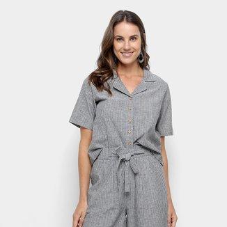 Camisa Manga Curta Malwee Listrada Feminina