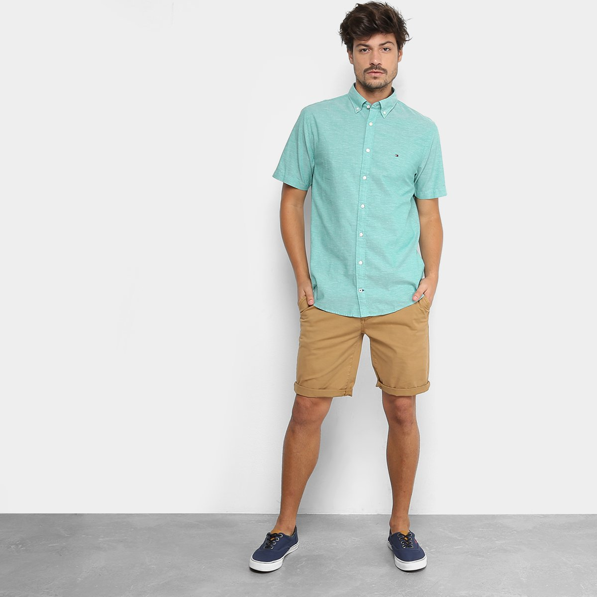 59867ab9cb ... Camisa Manga Curta Tommy Hilfiger Fio A Fio Regular Fit Masculina ...