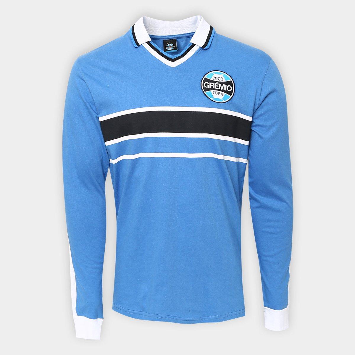 3fd5ed3ace Camisa Manga Longa Grêmio Réplica 2001 Masculina - Azul - Compre ...