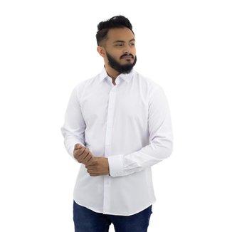 Camisa Manga Longa Lisa Branca Masculina