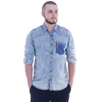 Camisa Masculina Azul Base Jeans M
