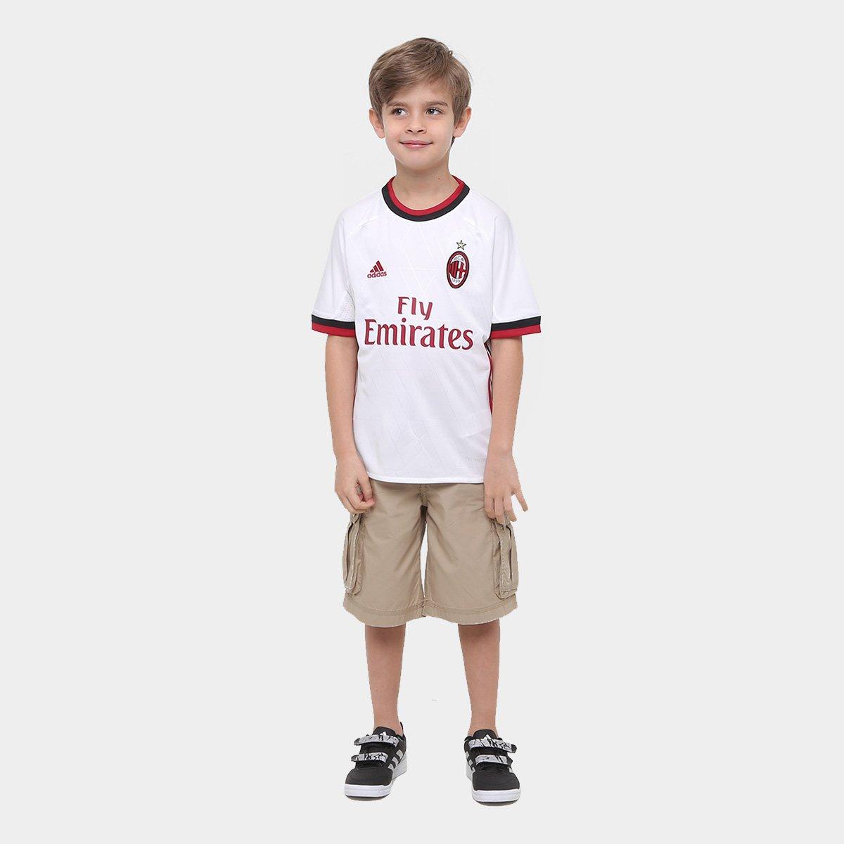Adidas Milan 17 Camisa 18 Infantil Branco s Vermelho e Away nº Torcedor Tdww8q