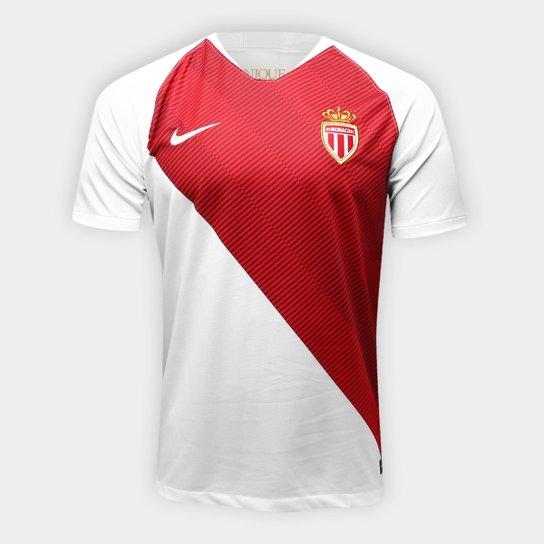 Camisa Monaco Home 2018 s/n° - Torcedor Nike Masculina - Branco+Vermelho