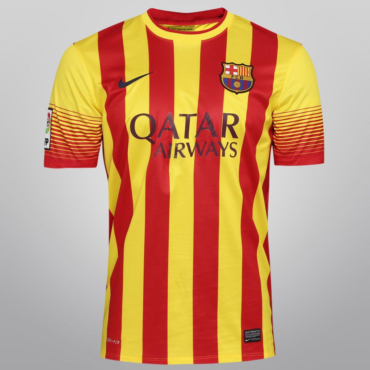 Camisa Nike Barcelona Away 13 14 s nº - Compre Agora  e5c27f5be0b9a