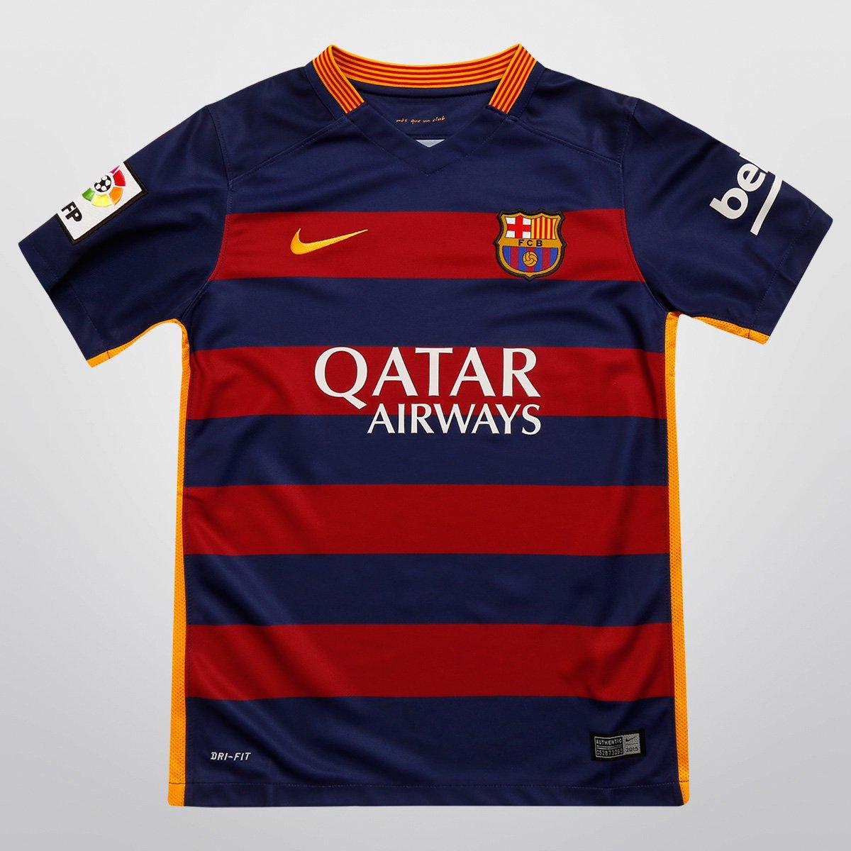 8bb11e013c043 Camisa Nike Barcelona Home 15 16 s nº Juvenil - Compre Agora