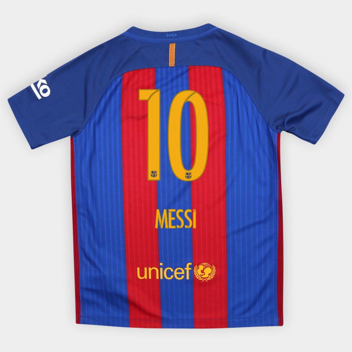 Camisa Nike Barcelona Home 16 17 nº 10 Messi Infantil Com Patrocínio - Compre  Agora  d236461777d86