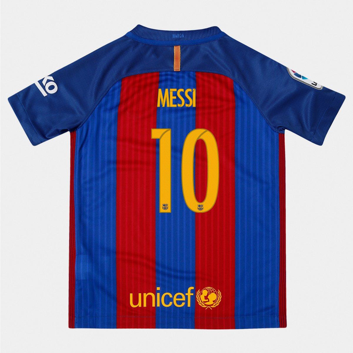 e672950157 Camisa Nike Barcelona Home 16 17 nº 10 Messi Infantil - Compre Agora ...