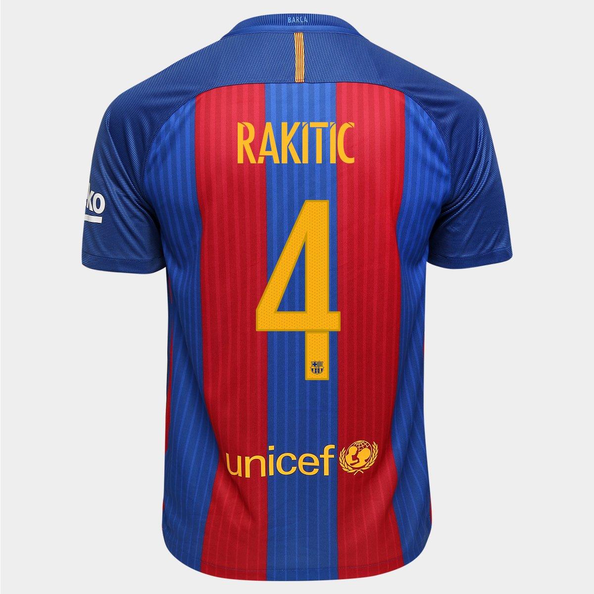 Camisa Nike Barcelona Home 16 17 Nº 4 - Rakitić - Compre Agora ... e793394f50135