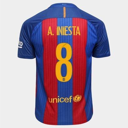 Camisa Nike Barcelona Home 16 17 Nº 8 - A. Iniesta - Compre Agora ... 5b37477252c