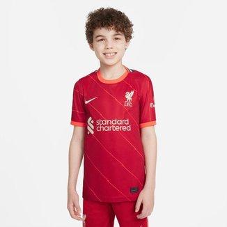 Camisa Nike Liverpool I 2021/22 Torcedor Pro Infantil