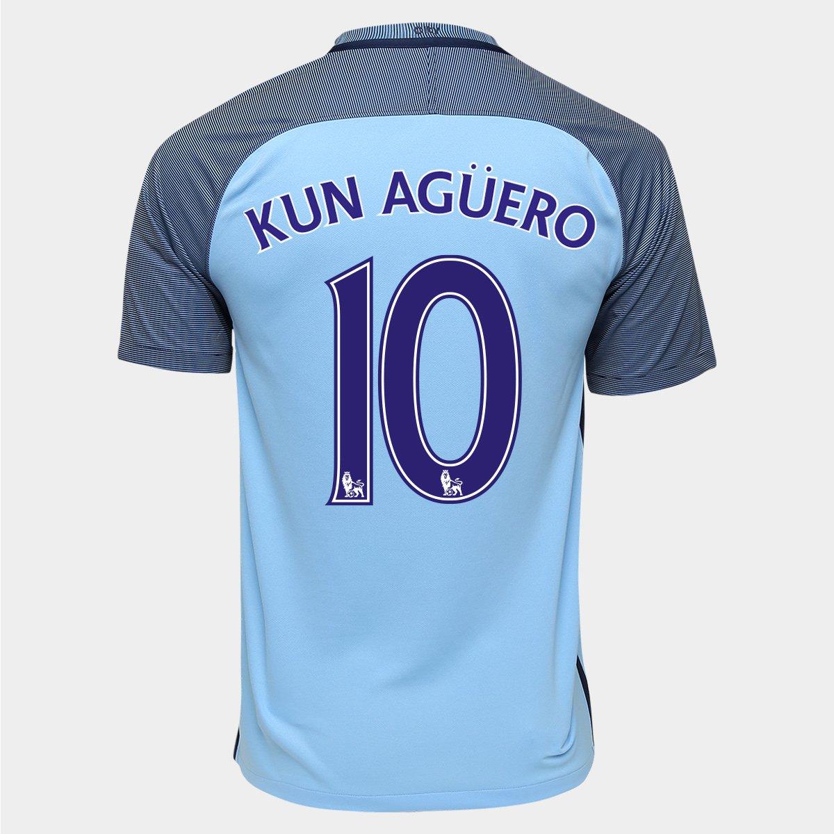 55fda8b623 Camisa Nike Manchester City Home 16 17 n° 10 - Kun Agüero - Compre Agora