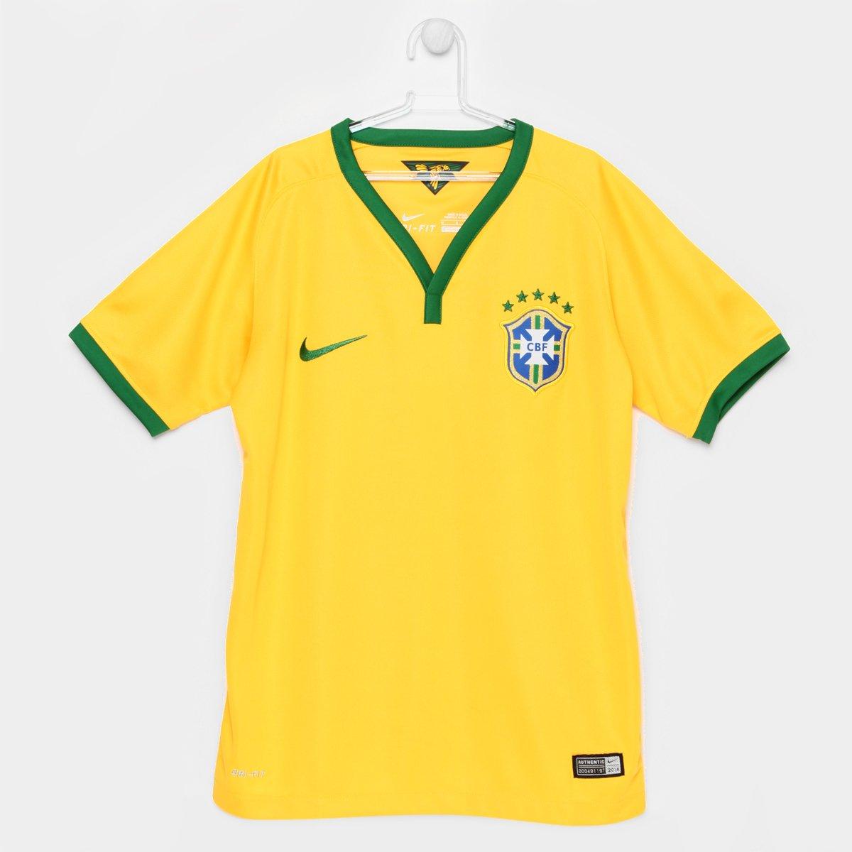b26ad0fbb6 Camisa Nike Seleção Brasil I 2014 s nº Juvenil - Compre Agora
