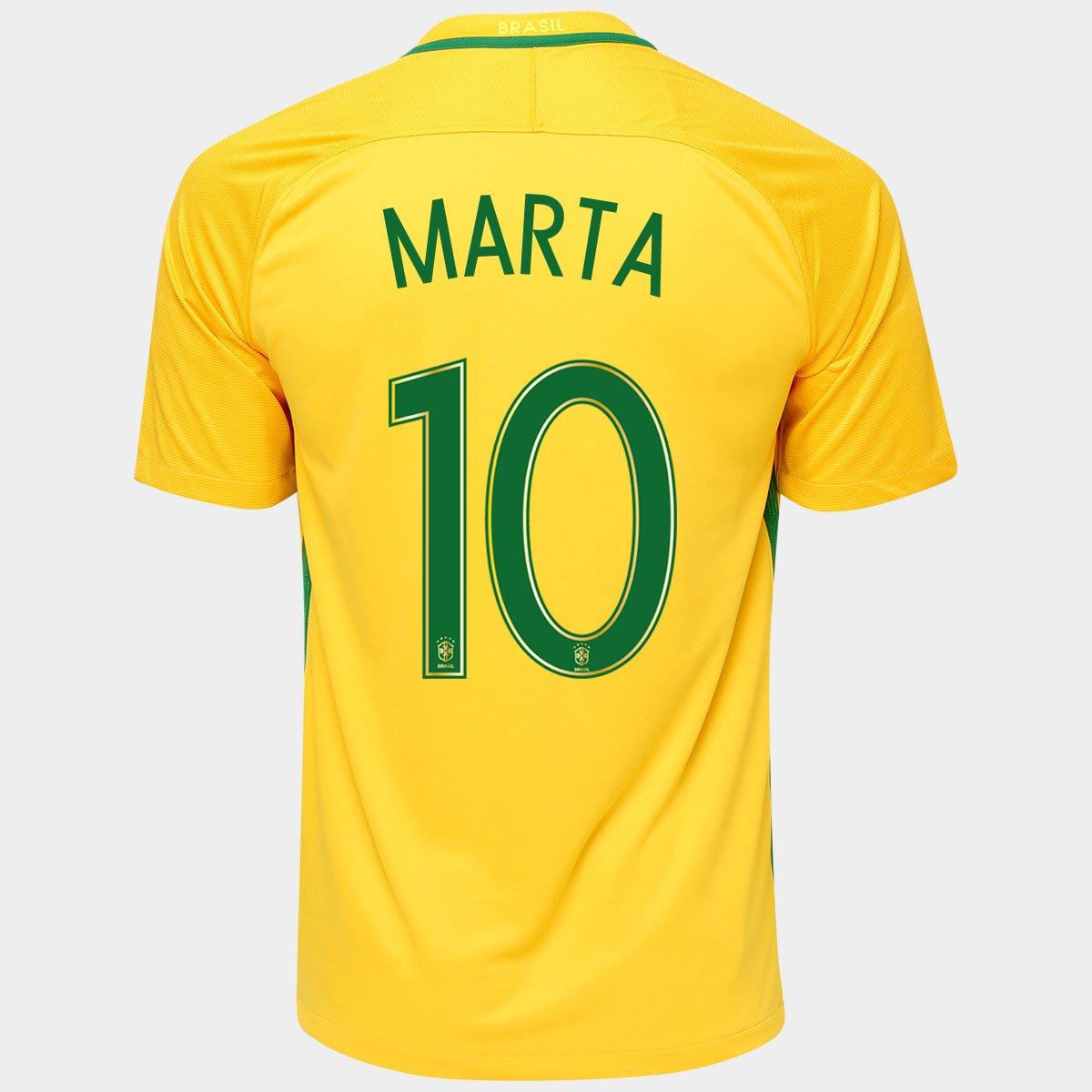 33cd81cb7a1ac Camisa Nike Seleção Brasil I 2016 nº 10 - Marta - Compre Agora ...