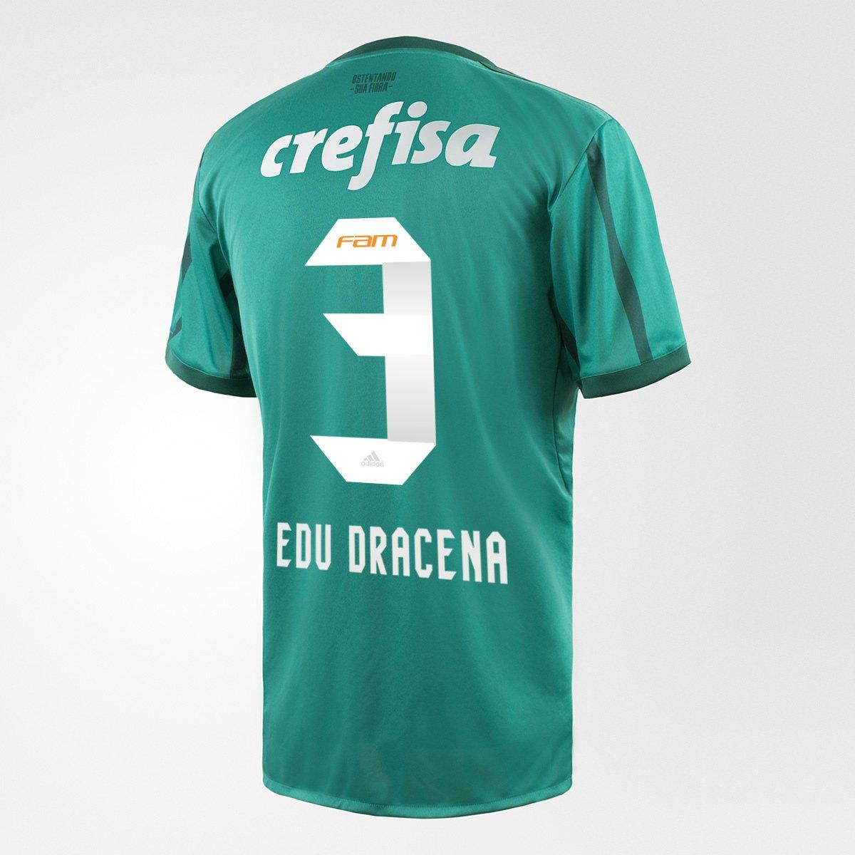 Camisa Palmeiras SP I 17 18 N° 3 - Edu Dracena Adidas Masculina - Compre  Agora  d7b4d8f96a83f