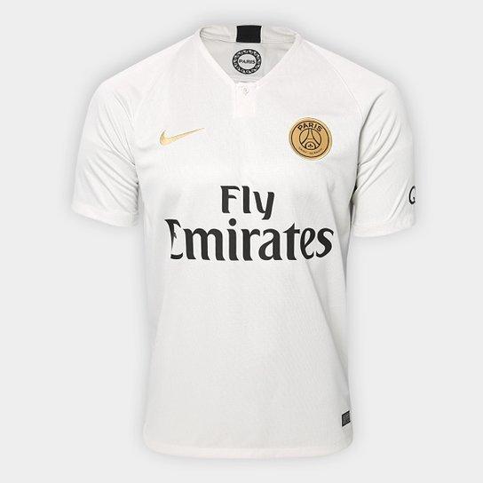 Camisa Paris Saint-Germain Away 2018 s/n° - Torcedor Nike Masculina - Branco+dourado